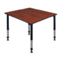 "Kee 48"" Square Height Adjustable Classroom Table  - Cherry"