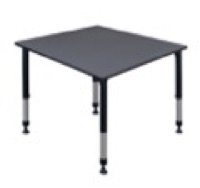 "Kee 48"" Square Height Adjustable Classroom Table  - Grey"