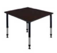 "Kee 48"" Square Height Adjustable Classroom Table  - Mocha Walnut"