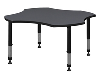 "Kee Classroom Table - 48"" Clover Shaped Height Adjustable"