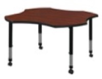 "48"" Clover Shaped Height Adjustable Classroom Table - Cherry"