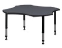 "48"" Clover Shaped Height Adjustable Classroom Table - Grey"