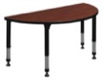 "48"" x 24"" Half Round Height Adjustable Classroom Table - Cherry"