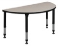 "48"" x 24"" Half Round Height Adjustable Classroom Table - Maple"