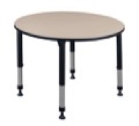 "Kee 48"" Round Height Adjustable Classroom Table  - Beige"