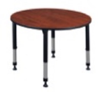 "Kee 48"" Round Height Adjustable Classroom Table  - Cherry"