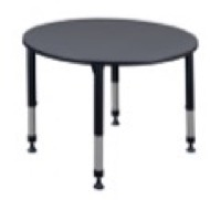 "Kee 48"" Round Height Adjustable Classroom Table  - Grey"