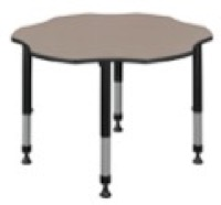 "60"" Flower Shaped Height Adjustable Classroom Table - Beige"