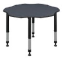 "60"" Flower Shaped Height Adjustable Classroom Table - Grey"