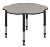 "60"" Flower Shaped Height Adjustable Classroom Table - Maple"