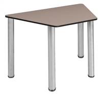 "Trapezoid 36"" x 23"" x 19"" Desk  - Beige/ Chrome"