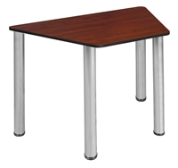 "Trapezoid 36"" x 23"" x 19"" Desk  - Cherry/ Chrome"