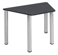 "Trapezoid 36"" x 23"" x 19"" Desk  - Grey/ Chrome"