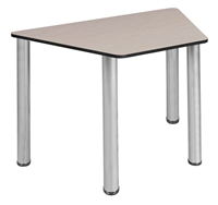 "Trapezoid 36"" x 23"" x 19"" Desk  - Maple/ Chrome"