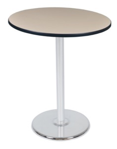 "Via Cafe High-Top 36"" Round Platter Base Table - Beige/Chrome"