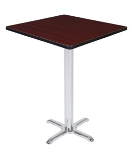 "Via Cafe High 30"" Square X-Base Table - Mahogany/Chrome"