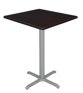 "Via Cafe High 30"" Square X-Base Table - Mocha Walnut/Grey"
