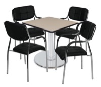 "Via 30"" Square Platter Base Table - Beige/Chrome & 4 Uptown Side Chairs - Black"