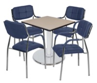 "Via 30"" Square Platter Base Table - Beige/Chrome & 4 Uptown Side Chairs - Navy"