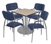 "Via 30"" Square Platter Base Table - Beige/Grey & 4 Uptown Side Chairs - Navy"