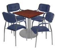 "Via 30"" Square Platter Base Table - Cherry/Grey & 4 Uptown Side Chairs - Navy"