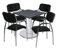 "Via 30"" Square Platter Base Table - Grey/Chrome & 4 Uptown Side Chairs - Black"
