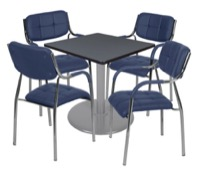 "Via 30"" Square Platter Base Table - Grey/Grey & 4 Uptown Side Chairs - Navy"