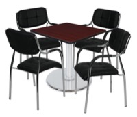 "Via 30"" Square Platter Base Table - Mahogany/Chrome & 4 Uptown Side Chairs - Black"