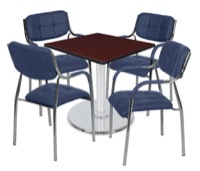 "Via 30"" Square Platter Base Table - Mahogany/Chrome & 4 Uptown Side Chairs - Navy"