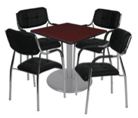 "Via 30"" Square Platter Base Table - Mahogany/Grey & 4 Uptown Side Chairs - Black"