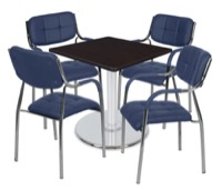 "Via 30"" Square Platter Base Table - Mocha Walnut/Chrome & 4 Uptown Side Chairs - Navy"
