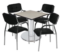 "Via 30"" Square Platter Base Table - Maple/Chrome & 4 Uptown Side Chairs - Black"