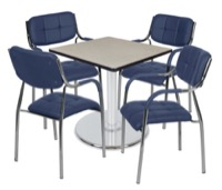 "Via 30"" Square Platter Base Table - Maple/Chrome & 4 Uptown Side Chairs - Navy"