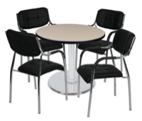 "Via 30"" Round Platter Base Table - Beige/Chrome & 4 Uptown Side Chairs - Black"