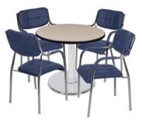 "Via 30"" Round Platter Base Table - Beige/Chrome & 4 Uptown Side Chairs - Navy"