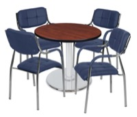 "Via 30"" Round Platter Base Table - Cherry/Chrome & 4 Uptown Side Chairs - Navy"