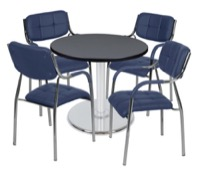 "Via 30"" Round Platter Base Table - Grey/Chrome & 4 Uptown Side Chairs - Navy"