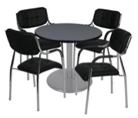 "Via 30"" Round Platter Base Table - Grey/Grey & 4 Uptown Side Chairs - Black"