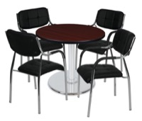 "Via 30"" Round Platter Base Table - Mahogany/Chrome & 4 Uptown Side Chairs - Black"