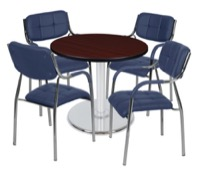 "Via 30"" Round Platter Base Table - Mahogany/Chrome & 4 Uptown Side Chairs - Navy"