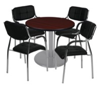 "Via 30"" Round Platter Base Table - Mahogany/Grey & 4 Uptown Side Chairs - Black"