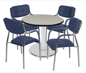 "Via 30"" Round Platter Base Table - Maple/Chrome & 4 Uptown Side Chairs - Navy"