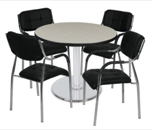 "Via 36"" Round Platter Base Table - Maple/Chrome & 4 Uptown Side Chairs - Black"