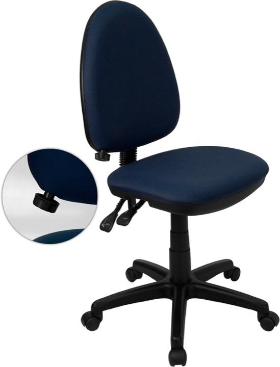 Ergonomic Office Chair - Adjustable Lumbar Support - Mid-Back - Navy Fabric