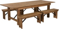 Antique Rustic Folding Farm Table and Four Bench Set