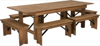 Antique Rustic Folding Farm Table and Six Bench Set