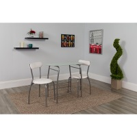 Sutton 3 Piece Space-Saver Bistro Set - Glass Top Table & Padded Chairs