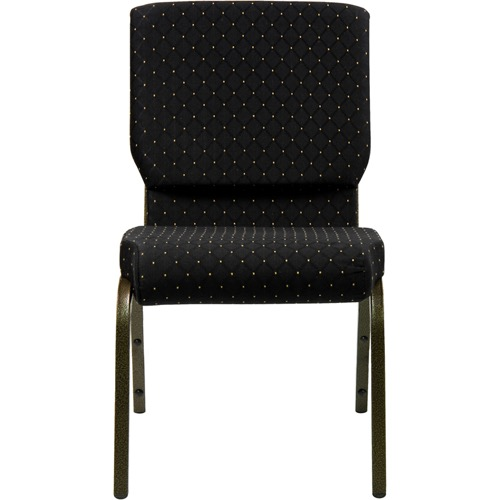 Flash Furniture HERCULES Series 18.5W Stacking Church Chair in Black Patterned Fabric Silver Vein Frame