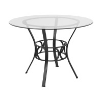 Round Glass Table Black Frame