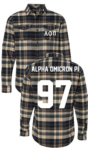 Alpha Omicron Pi Long Sleeve Flannel Shirt